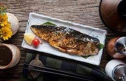 Saba mackerel fish grill with teriyaki sauce. Saba yaki or mackerel fish grill with teriyaki sauce in Japanese style royalty free stock photography