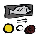 Saba mackerel or Japanese mackerel fish served with bowl of rice Stock Image
