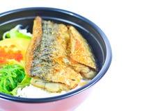 Saba and rice or Shioyaki Stock Image