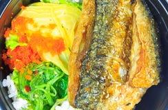 Saba and rice or Shioyaki Royalty Free Stock Photos