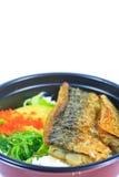 Saba and rice or Shioyaki Stock Photo
