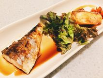 Saba y maki de color salmón del shoyu Imagen de archivo libre de regalías