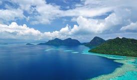 Φυσική άποψη νησιών της Μαλαισίας Sabah Μπόρνεο Στοκ Εικόνες