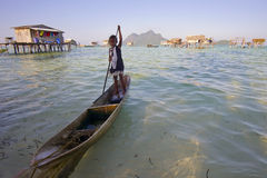 SABAH, MALAYSIA - APR 19: Unidentified Bajau Laut kids on a boat Royalty Free Stock Images
