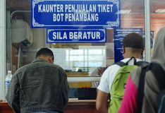 Daily life at the ferry ticketing counter Royalty Free Stock Photos