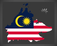 Sabah Malaysia map with Malaysian national flag illustration Stock Image