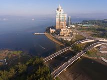 Sabah State Administrative Building. An aerial view Sabah State Administrative Building located in the Likas Bay, this place centre for Sabah State Government stock images