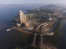Sabah State Administrative Building. An aerial view Sabah State Administrative Building located in the Likas Bay, this place centre for Sabah State Government stock photo
