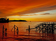Sabah Sunset. View of the sunset over Kota Kinabalu in Sabah, Northern Borneo royalty free stock images