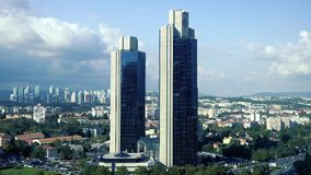 Sabanci Towers in Levent district, a financial center of the city with skyscrapers, shopping malls and business offices. stock video