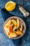 Sabanekh Fatayer - традиционные арабские пироги руки треугольника шпината Стоковые Фотографии RF
