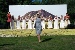 Sabantui beröm i Moskva Kvinnadanser Arkivbild