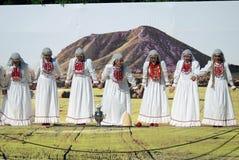 Sabantui beröm i Moskva Sångare på etapp Arkivfoton