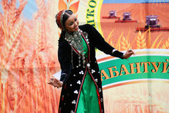 Sabantui celebration in Moscow. Dancer woman on stage Stock Photos