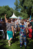 Sabantui celebration in Moscow. Dancing people Royalty Free Stock Photos