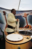 Sabantui celebration in Moscow. Musical instruments seller Stock Photos