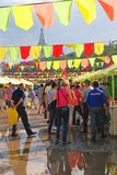 Sabantui celebration in Moscow. People go by souvenirs shops. Royalty Free Stock Photos