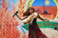 Sabantui celebration in Moscow. Singer woman on stage royalty free stock images