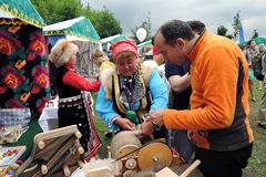 Sabantui celebration in Moscow. Souvenir sellers Stock Images