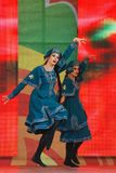 Sabantui celebration in Moscow. Two women performers stock image
