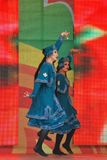 Sabantui celebration in Moscow. Two women performers stock photography