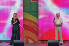 Sabantui celebration in Moscow. Woman and man sing on stage Royalty Free Stock Images