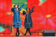 Sabantui-Feier in Moskau Zwei Frauenausführende Stockbild