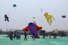 SABARMATI RIVERFRONT, AHMEDABAD, GUJARAT, INDIA, 13 January 2018. Various kites competing at the International Kite Festival. Various kites competing at the Royalty Free Stock Photography