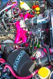 Sabaru engine on show at Motor Mania. Colorful high power engine on Sabaru saloon car shown at Grantown on Spey Motor Mania event held on 3rd September 2017 stock images