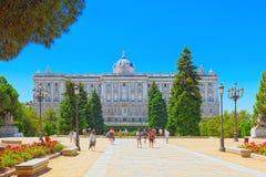 Sabatini Gardens Jardines de Sabatini and building of   Royal Royalty Free Stock Photos
