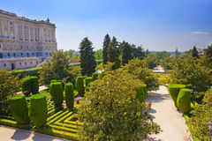 Sabatini gardens near Royal palace in Madrid, Spain Stock Photography
