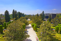 Sabatini gardens near Royal palace in Madrid, Spain Stock Images