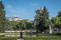 Sabatini Gardens and Royal Palace of Madrid Royalty Free Stock Image