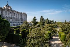 Sabatini Gardens and Royal Palace of Madrid Royalty Free Stock Images