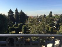 Sabatini Gardens, Royal a Palace, Madrid, Spain. View of the gardens from the street level Royalty Free Stock Photo