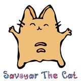 Sabaudczyk kot Śliczna Rozochocona zabawy rewolucjonistka lub imbir kiciunia z rękami Trzymaliśmy wysokość Urocza figlarka z ręką ilustracji