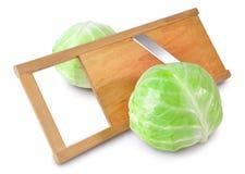 Sabbage y máquina de cortar de la ensalada Imagen de archivo libre de regalías