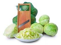Sabbage y máquina de cortar de la ensalada Foto de archivo libre de regalías