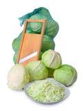 Sabbage y máquina de cortar de la ensalada Imagenes de archivo