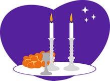 Sabbath. Candles, kiddush cup and challah Stock Photos