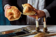 Sabbath challahs candlesticks with lit candles, and challah. Sabbath image candlesticks with lit candles, and challah, kiddush, sabbath, food, jewish kosher Stock Photos