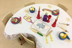 Sabbath table setting in Jewish preschool Stock Image