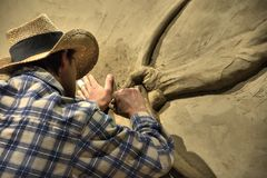 Sabbia che scolpisce, fuga precipitosa di Calgary, l'11 luglio 2011 Fotografia Stock Libera da Diritti