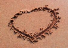 Sabbia del cuore di Handwrited Fotografia Stock