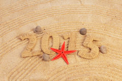 Sabbia del segno del nuovo anno Fotografia Stock Libera da Diritti