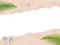 Sabbia della spiaggia con le palme Fotografia Stock Libera da Diritti