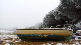 Sabbia della spiaggia della barca di brevin della st immagine stock libera da diritti