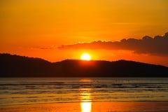 Sabbia di mare e tramonto Fotografia Stock