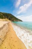 Sabbia dorata nella riva di Solanas Fotografia Stock