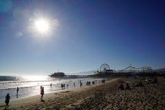 Sabbia e sole in spiaggia di stato di Santa Monica fotografia stock